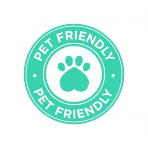 Pet friendly icon. Green round icon.